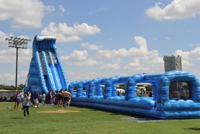 Huge 36 Ft Tall Blue Crush Water Slide Rental Dallas Party Rental