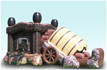 Corral Combo Western Themed Bounce House With Slide