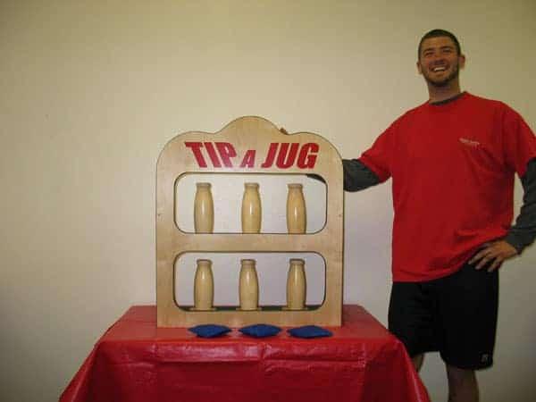 tip-a-jug bean bag toss game