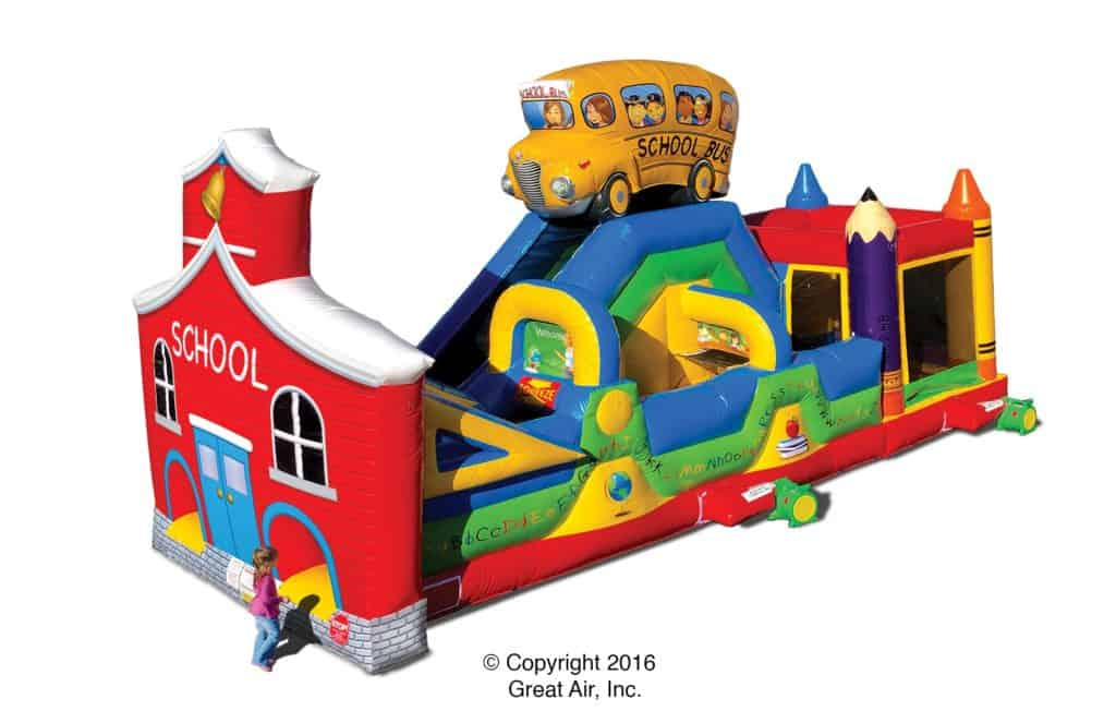 school bus - inflatable obstacle course rental
