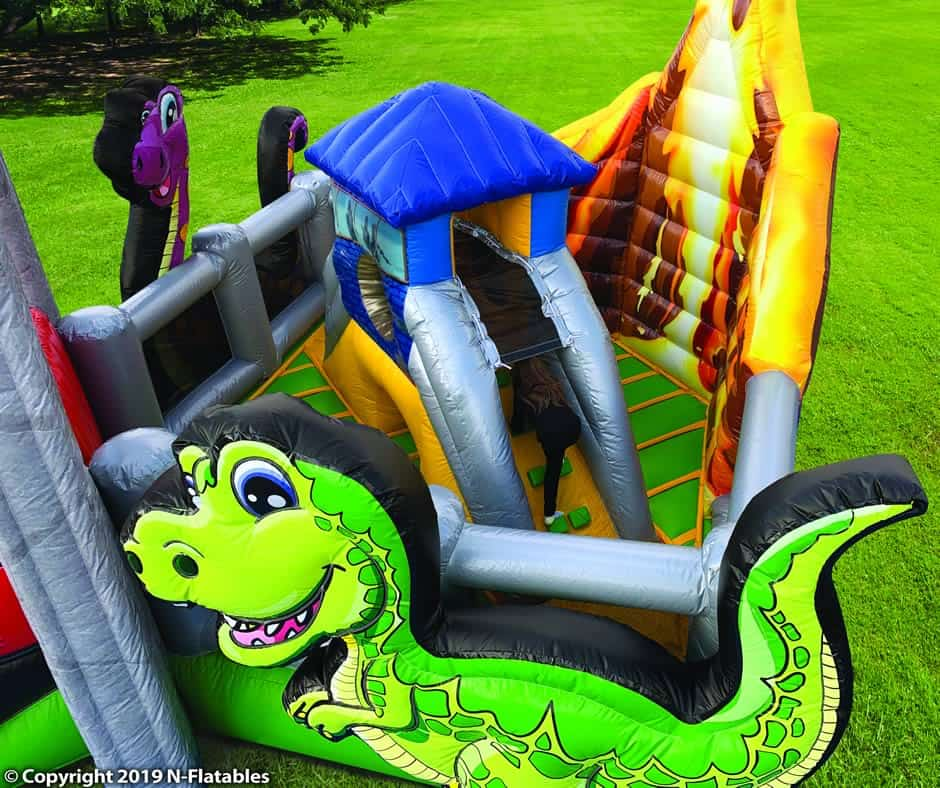 Dinosaur Inflatable with slide - Top View